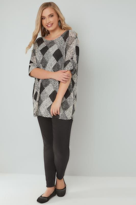 BLUE VANILLA CURVE Black & White Diamond Pattern Knitted Top