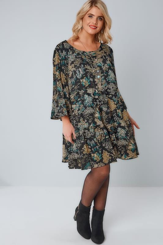 BLUE VANILLA CURVE Black & Yellow Floral Tiered Flute Sleeve Tunic Dress