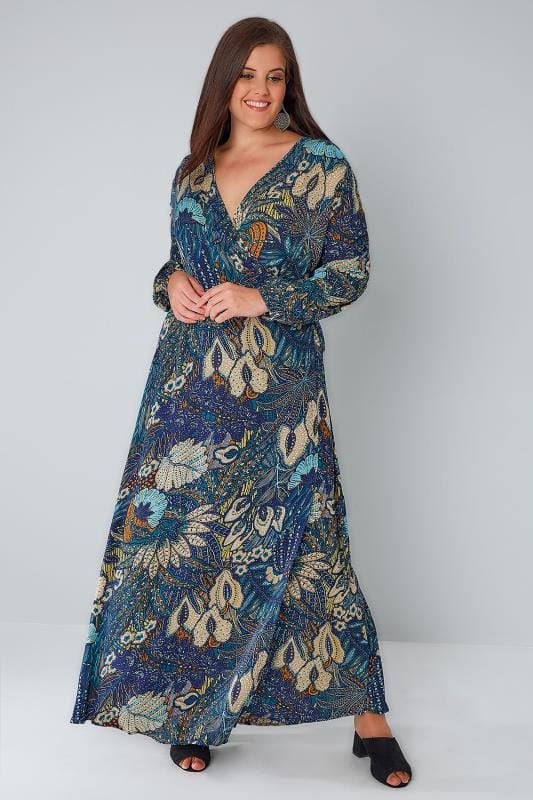 BLUE VANILLA CURVE Blue & Multi Floral Print Wrap Front Maxi Dress