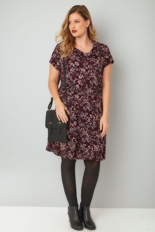BLUE VANILLA CURVE Burgundy Floral Print Textured  Dress With Roll Neck