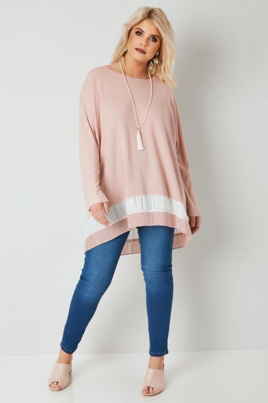 BLUE VANILLA CURVE Dusky Pink Knitted Top With Pleated Stripe Hem