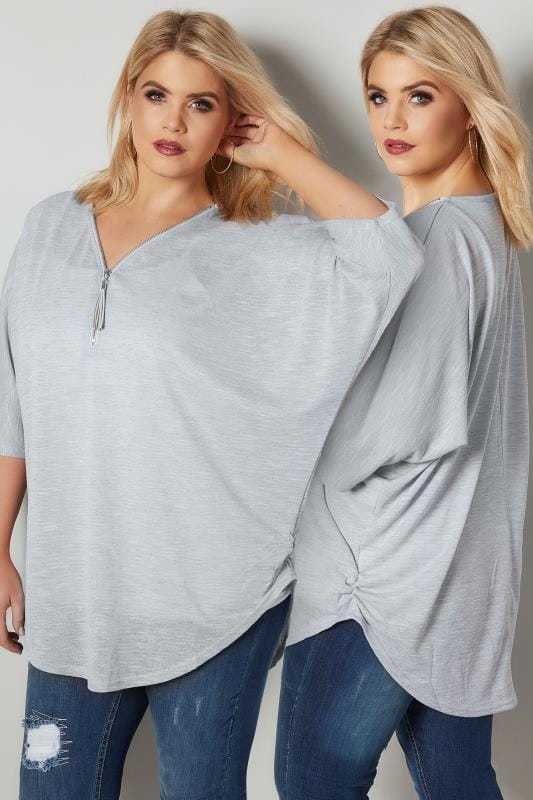 Plus Size Day Tops BLUE VANILLA CURVE Grey Fine Knit Zip Front Top