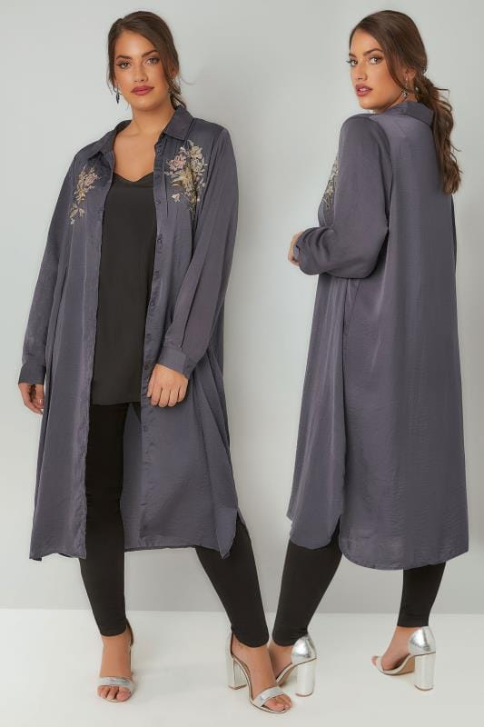 Shirts BLUE VANILLA CURVE Grey Floral Embroidered Shirt Dress 138822