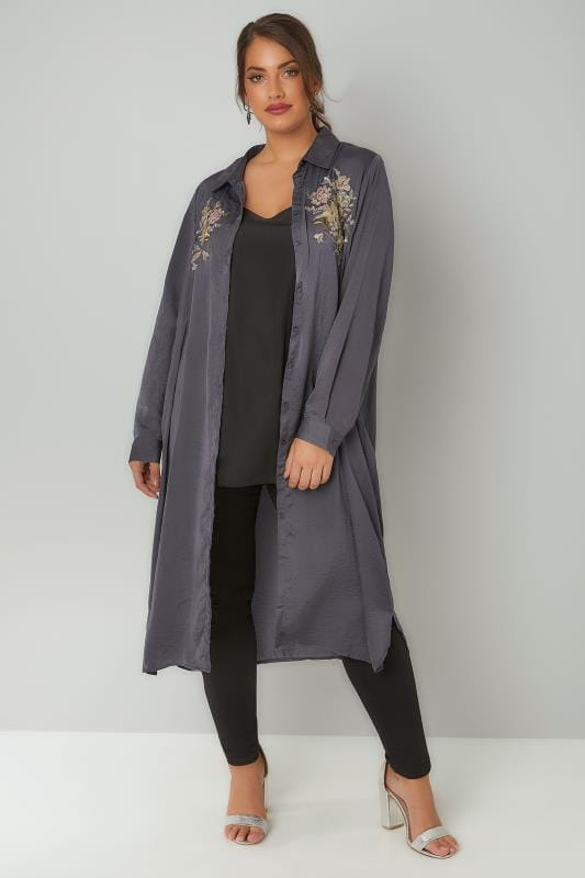 BLUE VANILLA CURVE Grey Floral Embroidered Shirt Dress