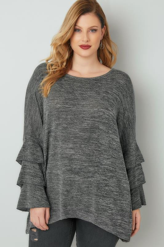 BLUE VANILLA CURVE Grey Jumper With Frilled Flared Sleeves