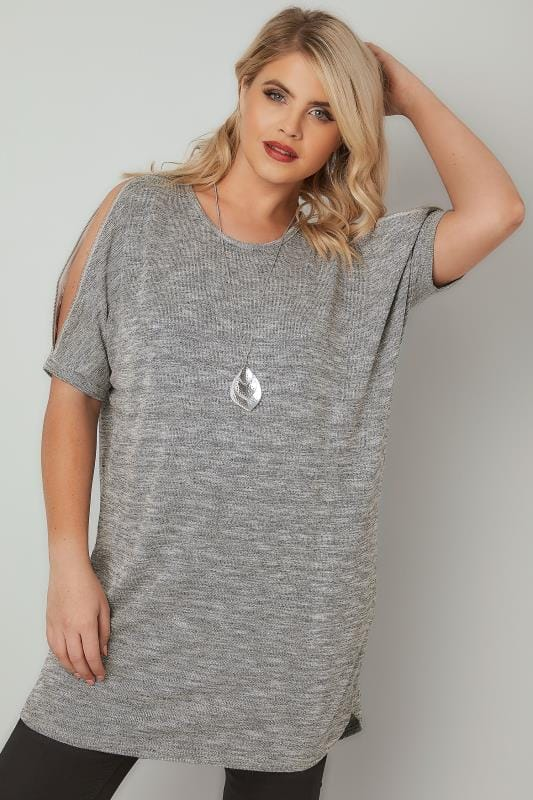 BLUE VANILLA CURVE Grey Metallic Fine Knit Top With Zip Cold Shoulder
