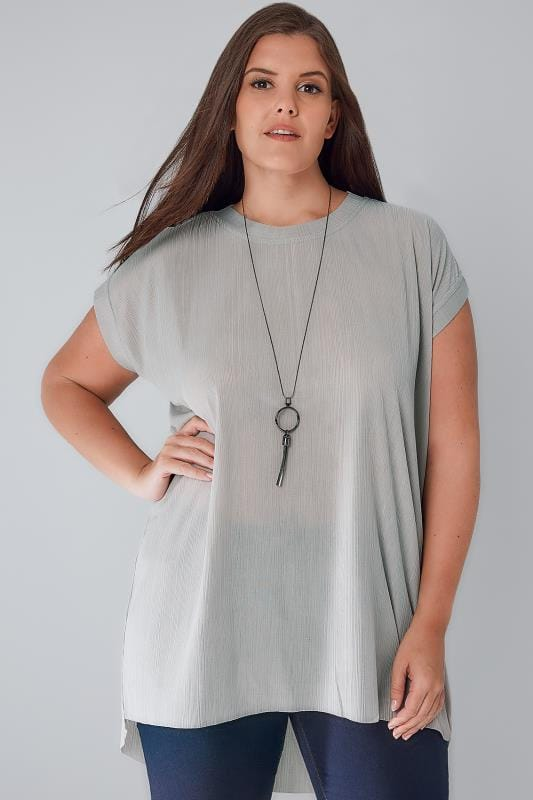Longline Tops BLUE VANILLA CURVE Grey Plisse Top With Curved Hem & Free Necklace 138654