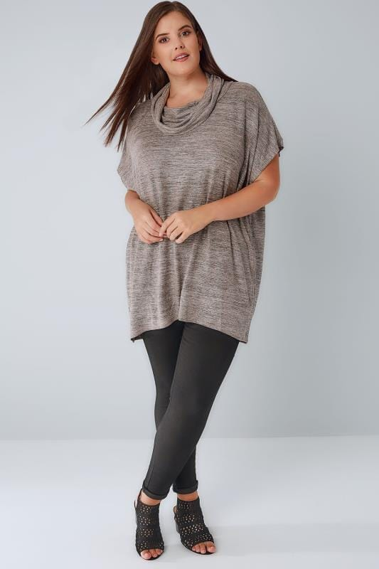 BLUE VANILLA CURVE Grey Roll Neck Dipped Hem Top With Metallic Detail