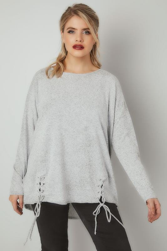 Jumpers BLUE VANILLA CURVE Grey Soft Touch Jumper With Lace Up Hem 138825