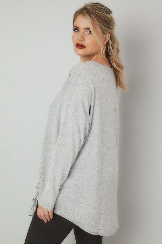BLUE VANILLA CURVE Grey Soft Touch Jumper With Lace Up Hem