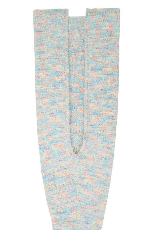 BLUE VANILLA CURVE Multi Pastel Soft Eyelash Mermaid Tail Blanket