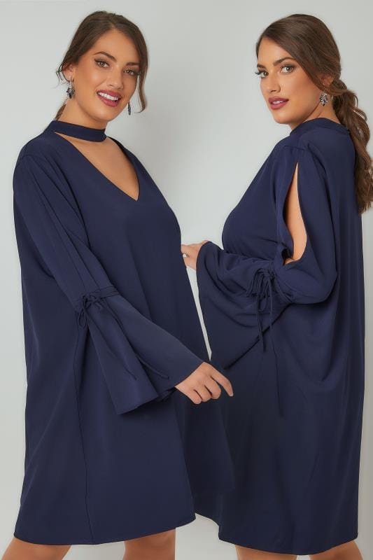 BLUE VANILLA CURVE Navy Dress With Flute Sleeves & Choker Neck