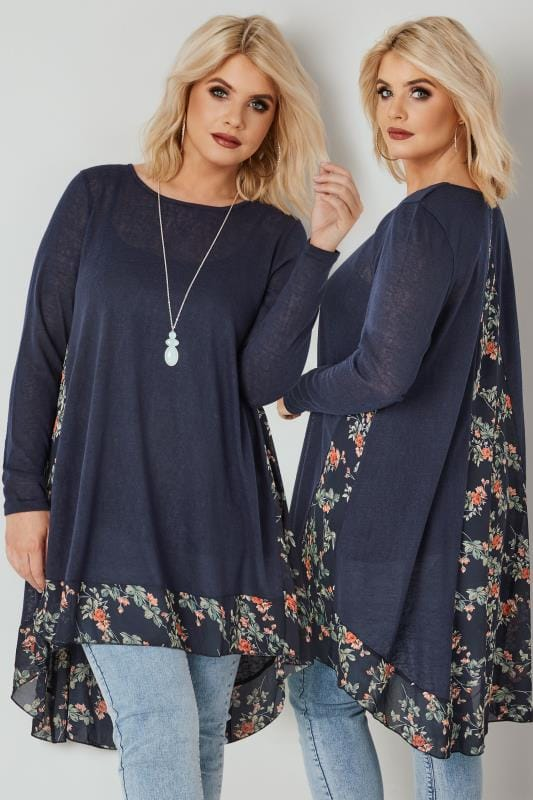 Plus Size Longline Tops BLUE VANILLA CURVE Navy Fine Knit Longline Top With Floral Chiffon Panel & Curved Hem
