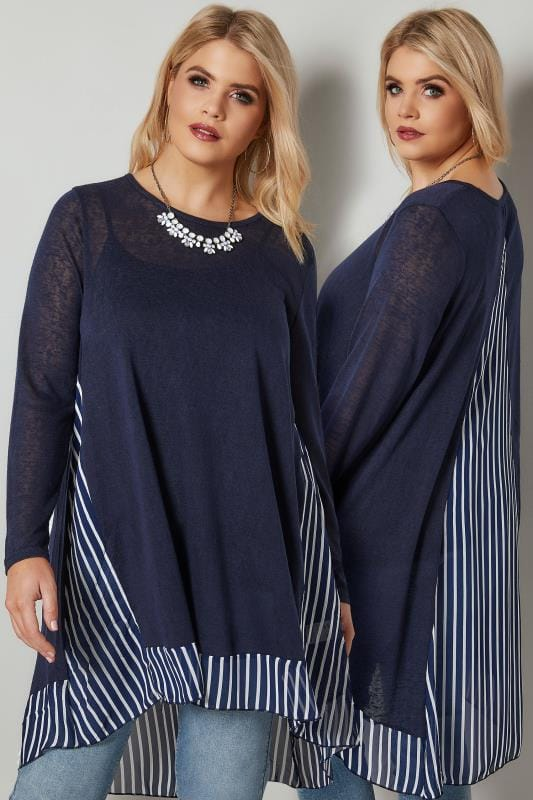 Plus Size Knitted Tops & Jumpers BLUE VANILLA CURVE Navy Fine Knit Longline Top With Stripe Chiffon Panel & Curved Hem