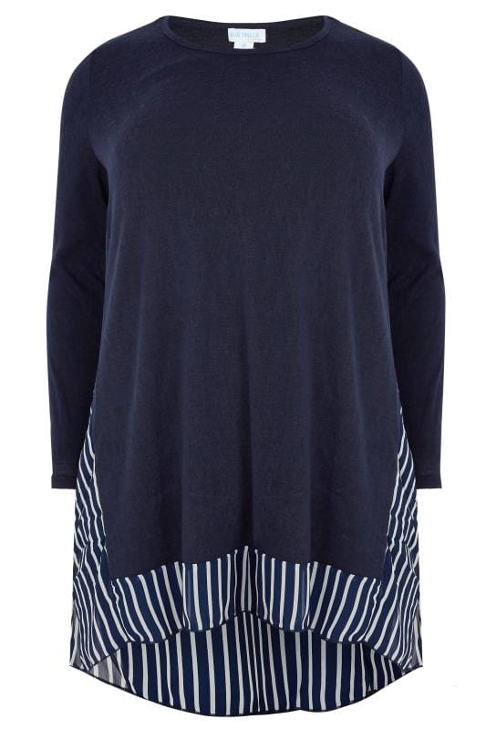 Knitted Tops & Jumpers BLUE VANILLA CURVE Navy Fine Knit Longline Top With Stripe Chiffon Panel & Curved Hem 138891