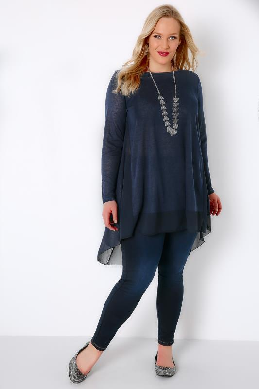 BLUE VANILLA CURVE Navy Fine Knit Swing Top With Chiffon Panels
