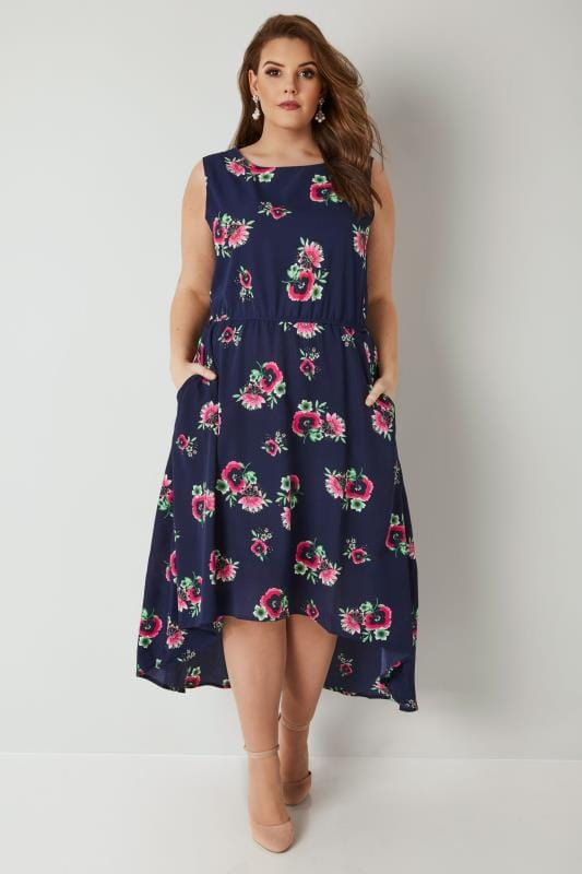 BLUE VANILLA CURVE Navy Floral Print High Low Dress