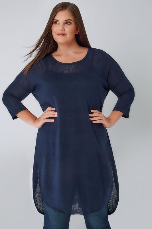 BLUE VANILLA CURVE Navy Longline Curved Hem Top With Chiffon Panels