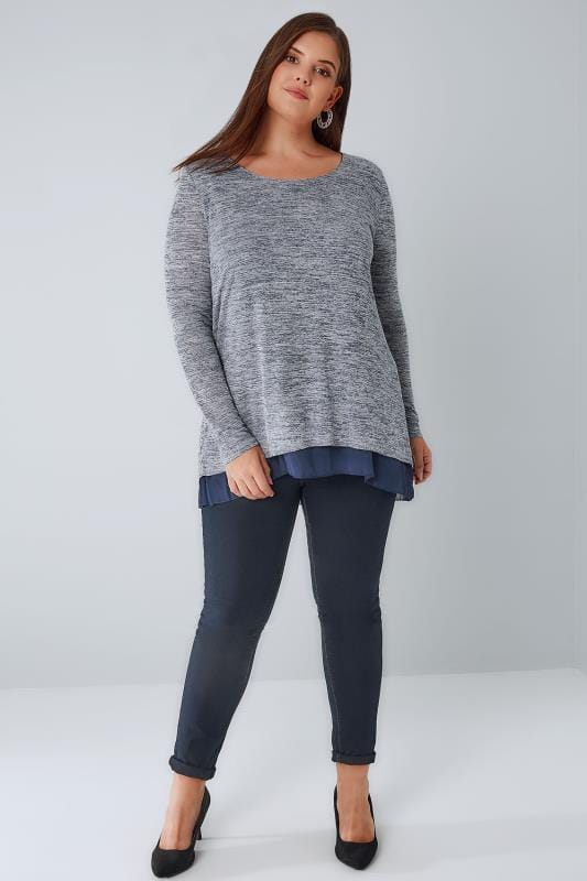 BLUE VANILLA CURVE Navy Marl Scoop Neck Top With A Chiffon Hem
