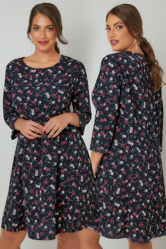 Swing & Shift Dresses BLUE VANILLA CURVE Navy & Multi Floral Print Swing Dress With 3/4 Length Sleeves 138804