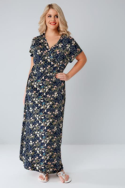 BLUE VANILLA CURVE Navy & Pink Floral Wrap Over Maxi Pocket Dress