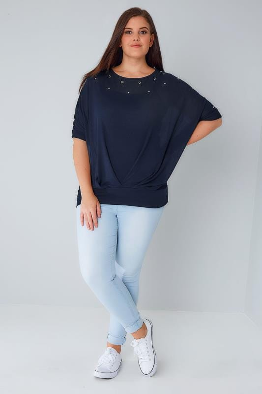 BLUE VANILLA CURVE Navy Top With Eyelet Detail