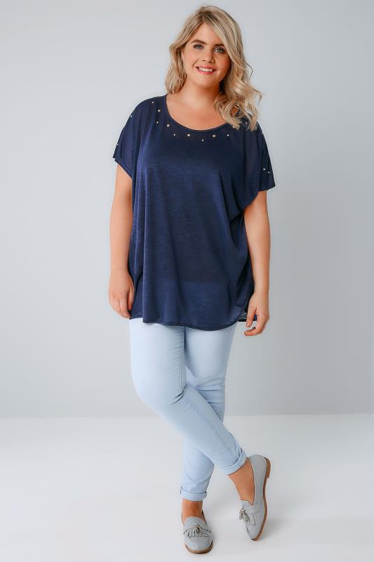 BLUE VANILLA CURVE Navy Top With Studded Neckline & Zip Back