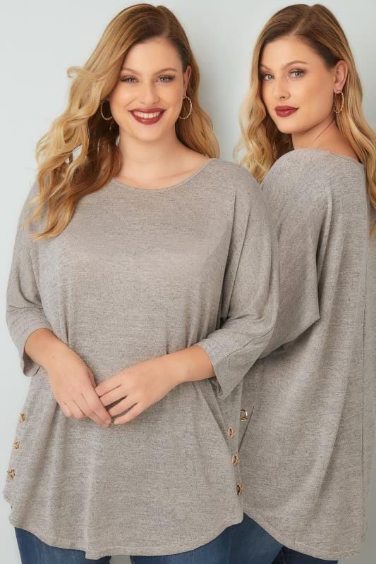 BLUE VANILLA CURVE Oatmeal Fine Knit Top With Eyelet Hem Detail