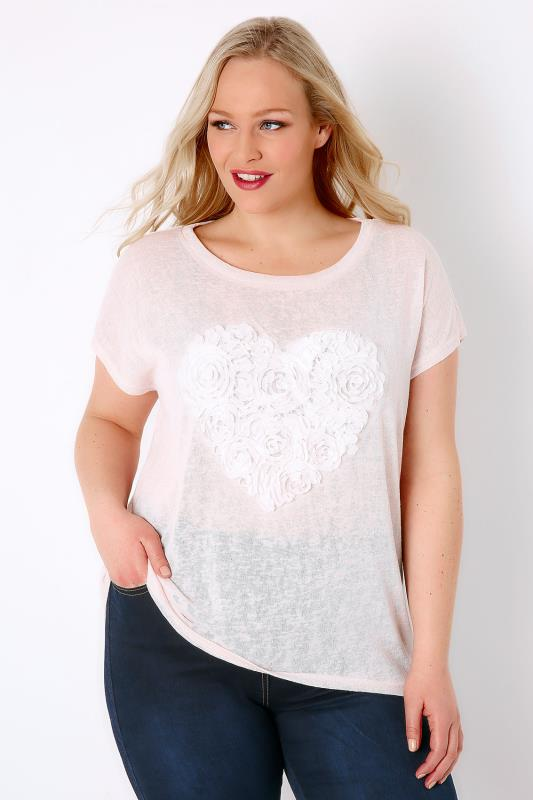 BLUE VANILLA CURVE Pastel Pink Fine Knit Top With Pretty Heart Detail