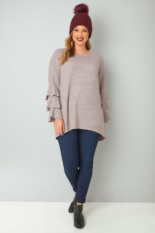 BLUE VANILLA CURVE Pink & Grey Jumper With Layered Frilled Sleeves