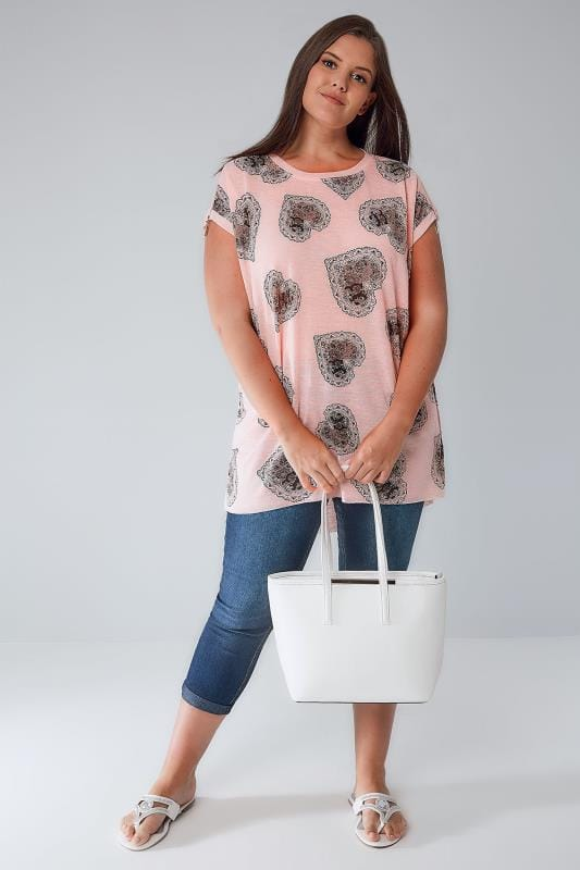 BLUE VANILLA CURVE Pink Heart Print Fine Knit Top With Zip Shoulders