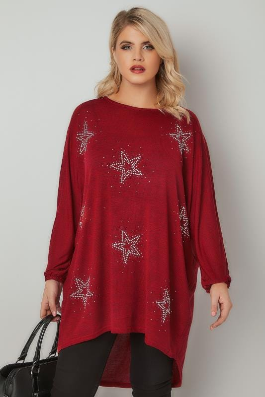 Longline Tops BLUE VANILLA CURVE Red Fine Knit Top With Star Embellishment & Dipped Hem 138856