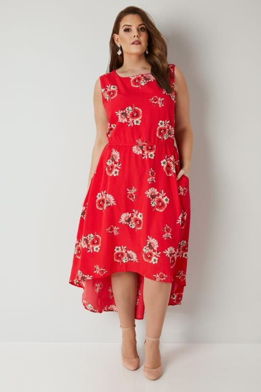 BLUE VANILLA CURVE Red Floral Print High Low Dress