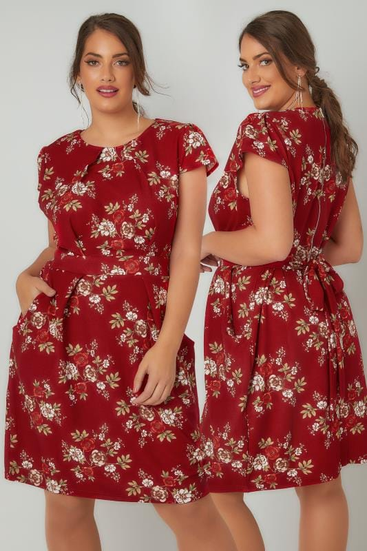 Swing & Shift Dresses BLUE VANILLA CURVE Red Floral Print Shift Dress With Pockets 138800