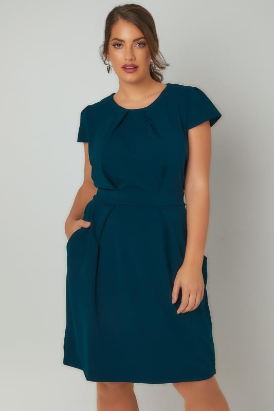 BLUE VANILLA CURVE Teal Blue Shift Dress With Pockets