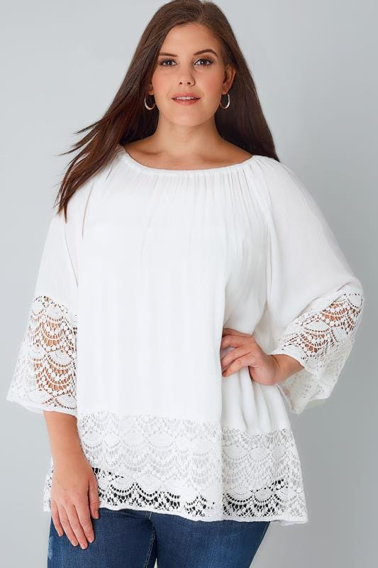 BLUE VANILLA CURVE White Crinkle Bardot Top With Lace Trim