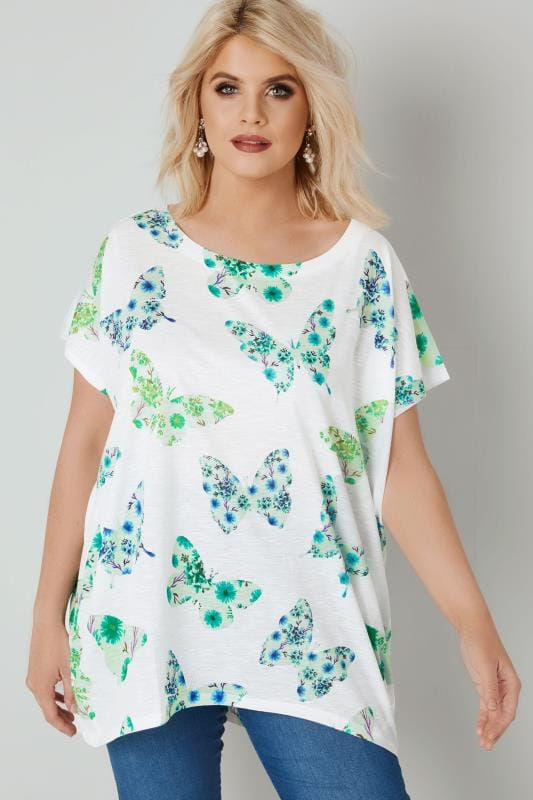 BLUE VANILLA CURVE White & Green Butterfly Print Top