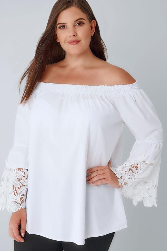 BLUE VANILLA CURVE White Lace Detail Bardot Top With Bell Sleeves