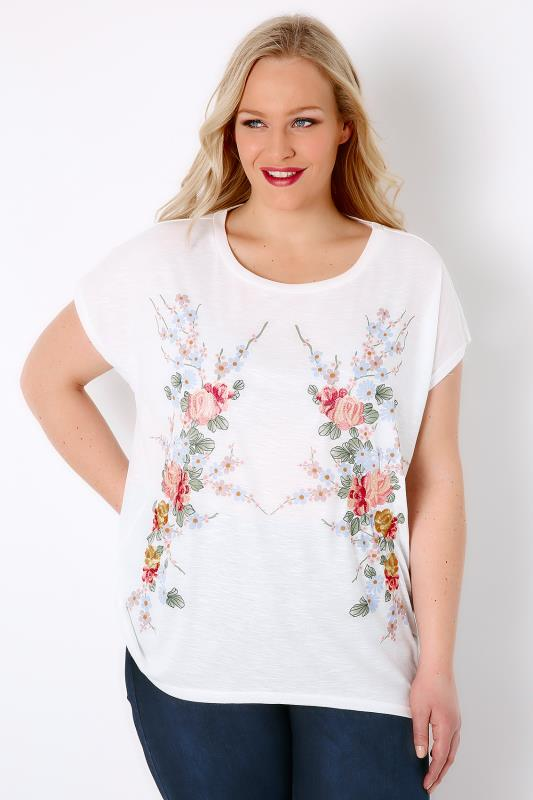 BLUE VANILLA CURVE White & Multi Embroidered Floral Top