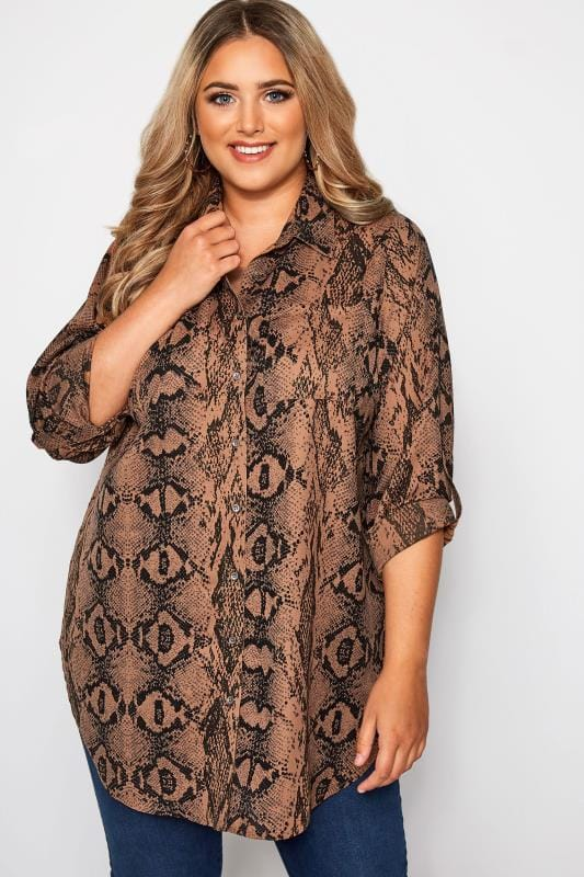 Plus Size Blouses & Shirts Brown Snake Print Oversized Shirt