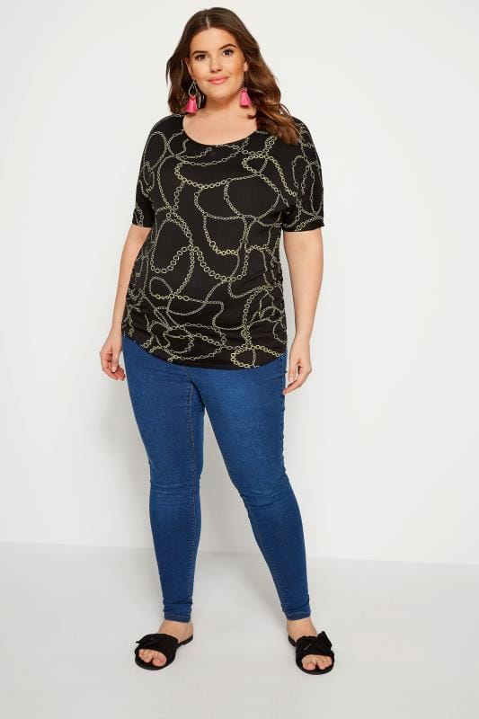 BUMP IT UP MATERNITY Black Chain Print Top