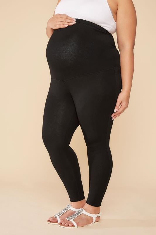 Plus Size Leggings BUMP IT UP MATERNITY Black Cotton Elastane Leggings With Comfort Panel
