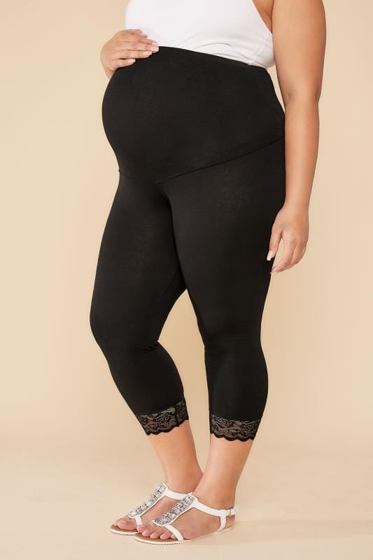 Plus Size Leggings BUMP IT UP MATERNITY Black Cropped Leggings With Lace Trim