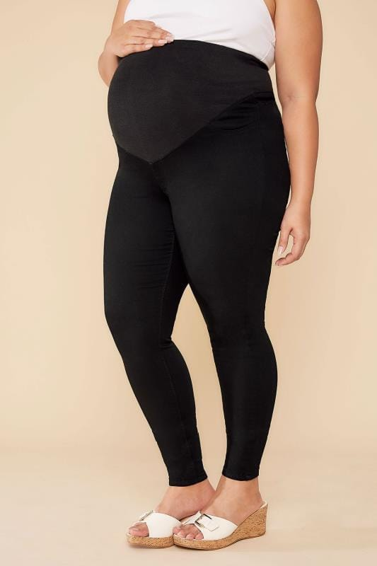 Plus Size Jeans & Jeggings BUMP IT UP MATERNITY Black Denim Super Stretch Skinny Jeans With Comfort Panel