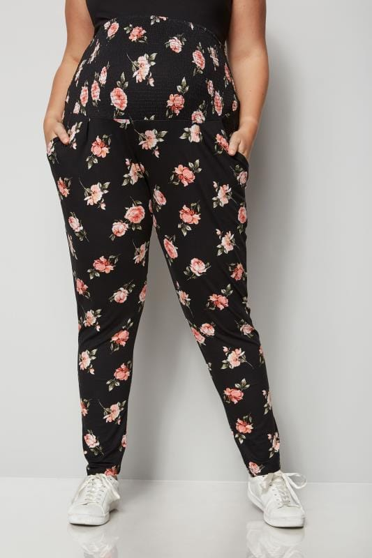 1f8ad78db67 BUMP IT UP MATERNITY Black Floral Harem Trousers With Comfort Panel ...