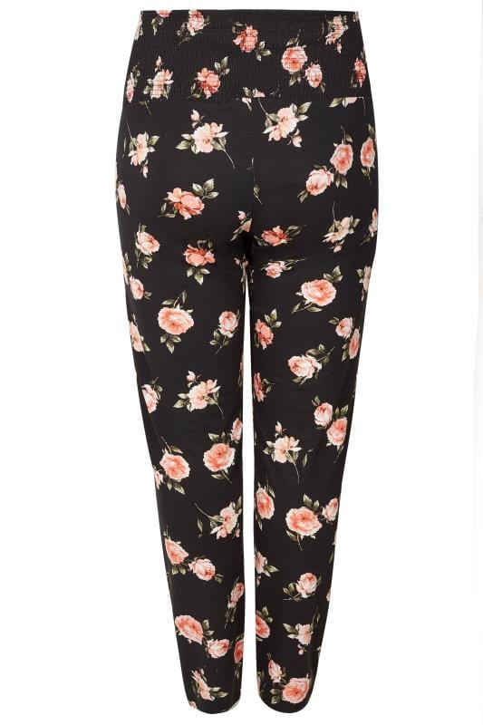 Bump It Up Maternity Black Floral Harem Trousers With