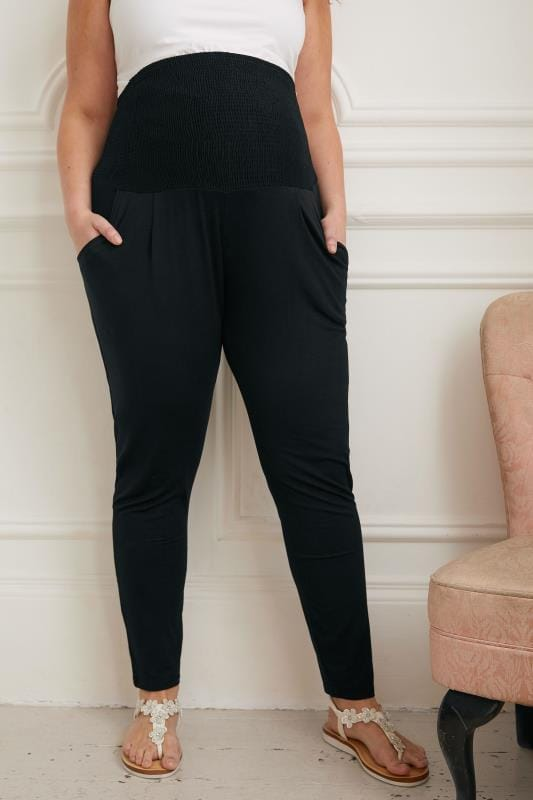 Plus Size Maternity Trousers BUMP IT UP MATERNITY Black Harem Trousers With Comfort Panel