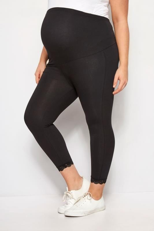b0816b49d58998 Plus Size Maternity Leggings BUMP IT UP MATERNITY Black Lace Trim Crop  Leggings