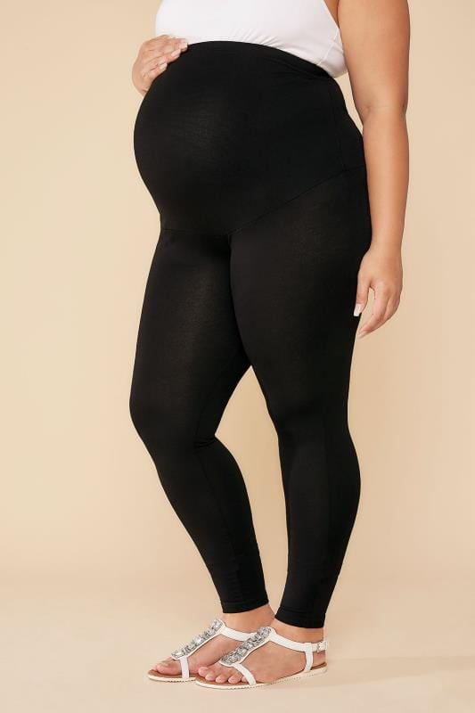 Leggings BUMP IT UP MATERNITY Black Leggings With Tummy Control Panel 100691