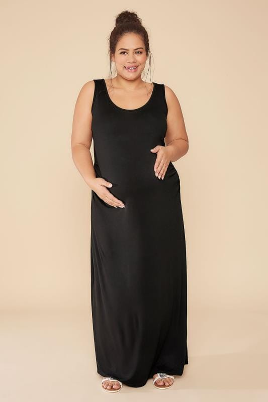 BUMP IT UP MATERNITY Black Maxi Dress With Ruched Side